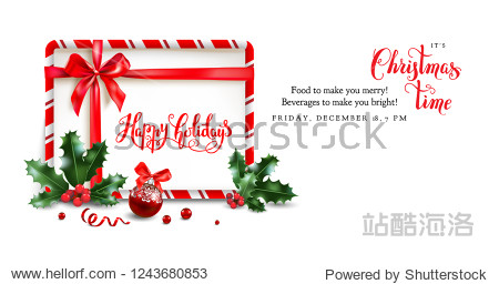 Christmas sale design for banner  ticket  leaflet  card  invitation  poster and so on. Holiday frame with fir tree and festive decorations balls and holly on white background.