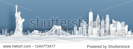 Panorama view of New York City  United States of Amerrica skyline with world famous landmarks in paper cut style vector illustration