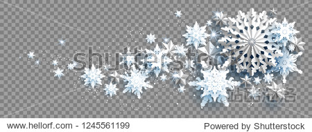 Web Banner Social Media template. Winter decoration with snowflakes  stars and balls on transparent background