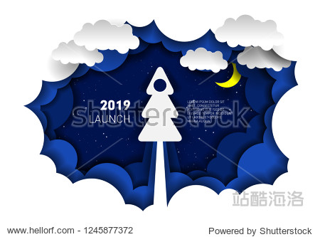 Paper illustration of a rocket in the form of a Christmas tree. Paper-cut style. 2019 new year and Christmas
