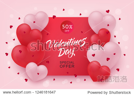 Vector valentines day sale poster  special offer banner with hearts in black frame  hand written lettering. Romantic holiday commercial background  online store clearance  shopping promotion template.