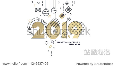 Business Happy New Year 2019 greeting card. Vector illustration concept for background  greeting card  website and mobile website banner  party invitation card  social media banner  marketing material