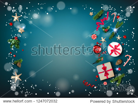 Blue holiday card with Christmas decorations and balls  stars  gift boxes  fir tree branches on fairy background. Christmas festive template.