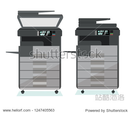 set of two positions of dark gray multifunction office floor Copier printer scanner - with the lid open for manual feeding of paper and closed on a white background. Flat cartoon vector illustration