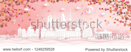 Autumn in Germany with falling maple leaves and world famous landmarks in paper cut style vector illustration