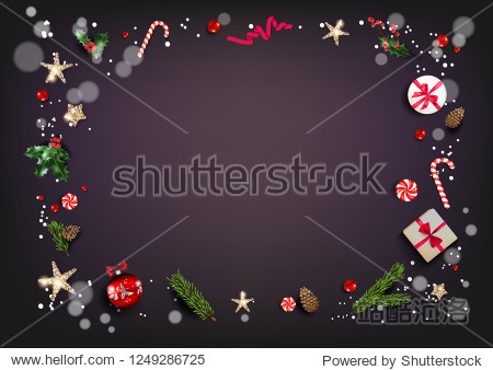 Holiday card with Christmas decorations and balls  stars  gift boxes  fir tree branches on violet background. Christmas festive template.