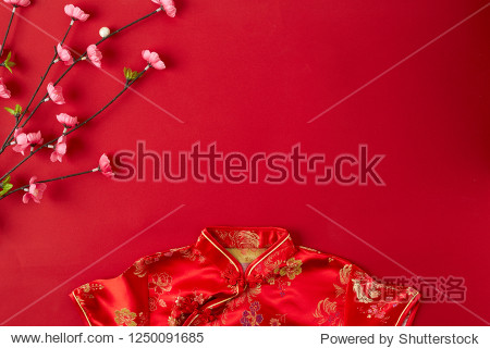 Decorating Design Chinese new year 2019 red background. with blessing text mean happy  healthy and wealth. mean best wishes and good luck for the coming Chinese new year. flat lay (Foreign text means