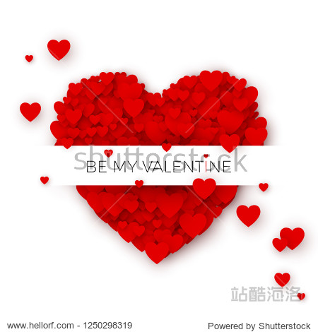 Happy Valentine`s day greeting card cover template. Heart frame with label. Holiday decoration element. Heart consisting of a multitude of hearts with space for text. Vector illustration
