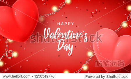 Happy Valentine's Day holiday web banner. Vector illustration with 3d red and pink air balloons  red serpentine and confetti  glowing garlands.