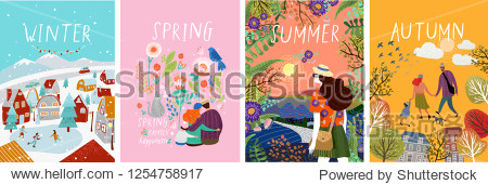 posters of seasons: winter  spring  summer  autumn; illustrations of a family in nature  girl in a landscape  a family with a cat in flowers and a city street with a skating rink and people