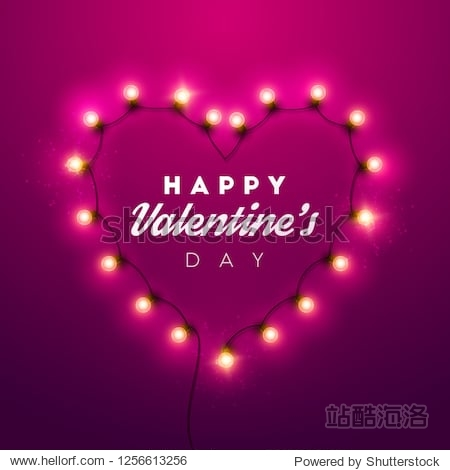 Valentines Day background. Vector retro light sign.