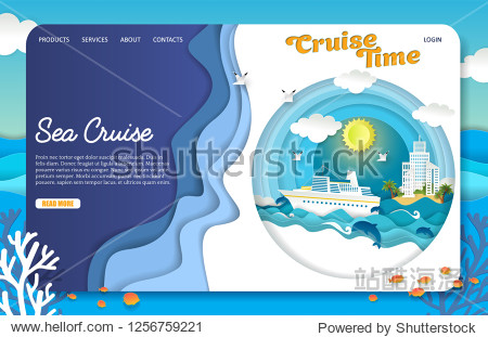 Sea cruise landing page website template. Vector paper cut cruise liner floating on ocean waves  dolphins  seagulls  islands  tourist resorts. Sea travel  cruise time concept.