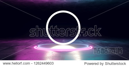 Modern Futuristic Sci Fi Dark Grunge Concrete Reflective Texture Room With Led Neon Laser Glowing Purple Pink Blue Light Circles And Big Circle Light Empty Space 3D Rendering Illustration