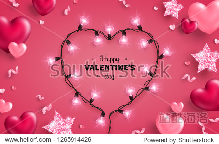 Happy Saint Valentine's day card with light bulbs  confetti and hearts on pink background. Holiday illuminated frame made of garland wire with place for text.