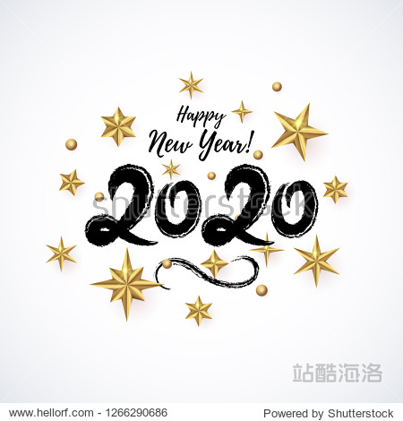 2020 hand written lettering decorated with realistic Golden 3D Stars isolated on light background. Glossy Christmas stars icon. Concept design element for Happy New Year  Xmas holidays. Vector