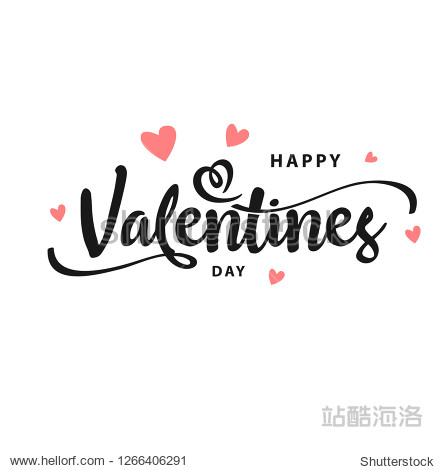 Happy Valentines Day typography poster with handwritten calligraphy text  isolated on white background. Vector Illustration - Vector