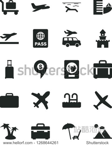 Solid Black Vector Icon Set - suitcase vector  case  passport  sand castle  dollar pin  plane  rolling  departure  hotel  beach  arnchair under umbrella  palm tree  pool  baggage  transfer