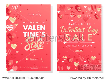 Valentines Day special offer banners with different hearts and golden foil elements.Saletemplates perfect for prints  flyers  banners  promotions  special offers and more. Vector Valentines promos.