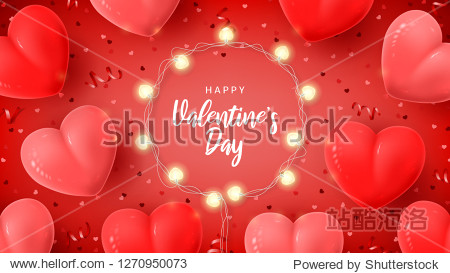Happy Valentine's Day holiday card. Vector illustration with 3d red and pink air balloons  red serpentine and confetti  glowing garlands with bulbs in the shape of hearts.