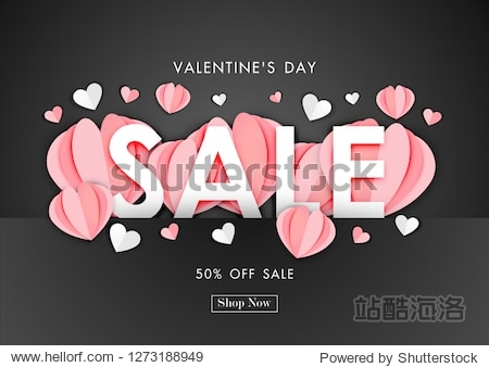Valentine's day sale background with paper art of origami heart shape  vector illustration template  banners  Wallpaper  invitation  posters  brochure  voucher discount.