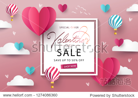 Happy Valentine's Day Sale background. Banner  poster or flyer design with flying Origami Hearts over clouds with air balloons in the sky. Paper art  digital craft style. Vector illustration