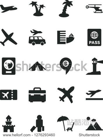 Solid Black Vector Icon Set - suitcase vector  passport  coastal lighthouse  sand castle  helicopter  dollar pin  plane  passenger  ticket  departure  hotel  tent  arnchair under umbrella  palm tree