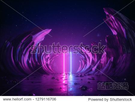 3d render  abstract background  cosmic landscape  rectangular portal  pink blue neon light  virtual reality  energy source  glowing quad  dark space  ultraviolet spectrum  laser  smoke  fog  ground