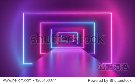 3d render  virtual reality environment  neon light  rectangular portal  tunnel  ultraviolet spectrum  abstract background  laser show  fashion catwalk podium  path  way  stage  floor reflection