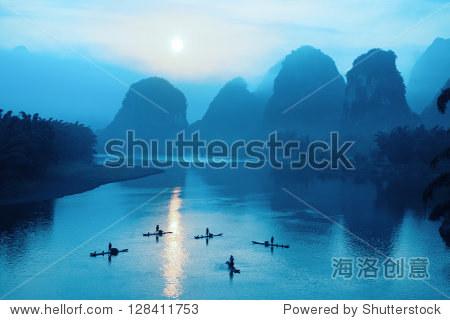 beautiful yangshuo scenery in sunrise,China
