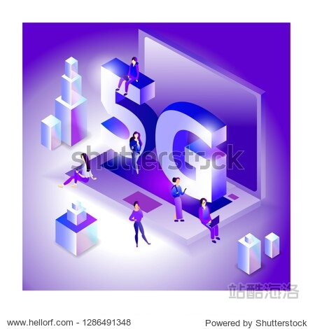 Isometric 5G network illustration