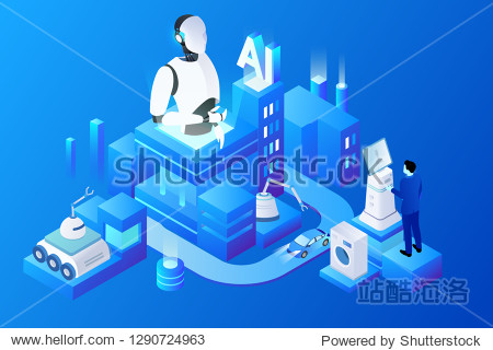 Artificial intelligence big data machine learning in the era of 5G smart city scene illustration