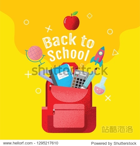 back to school sale banner  poster  flat design colorful  vector