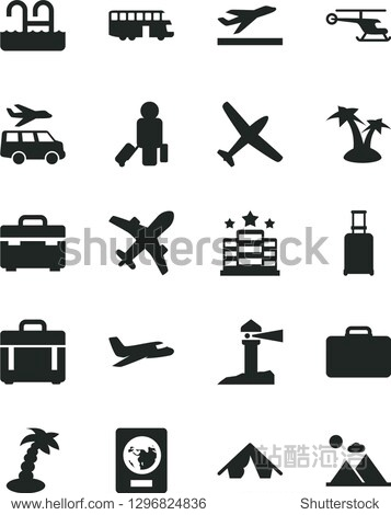 Solid Black Vector Icon Set - suitcase vector  case  coastal lighthouse  helicopter  plane  bus  passenger  rolling  passport  departure  tent  palm tree  pool  hotel  transfer  mountains