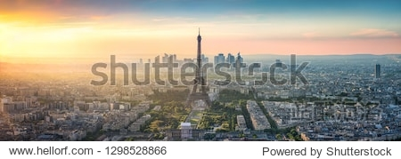 Aerial view of Paris with Eiffel Tower  France