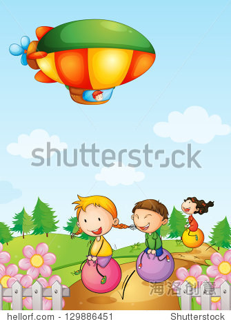 Illustration of three kids playing below an airship