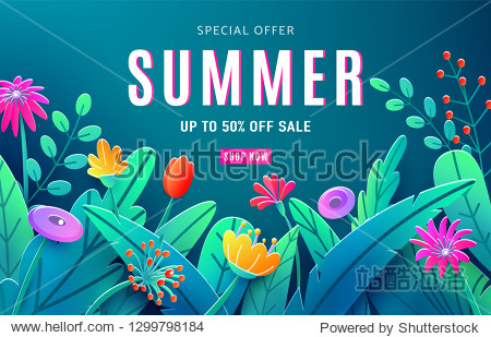 Summer sale ad background with paper cut fantasy flowers  leaves  stem isolated on dark backdrop. Minimal 3d style floral background. Discount text offer 50 percent off. Vector illustration.
