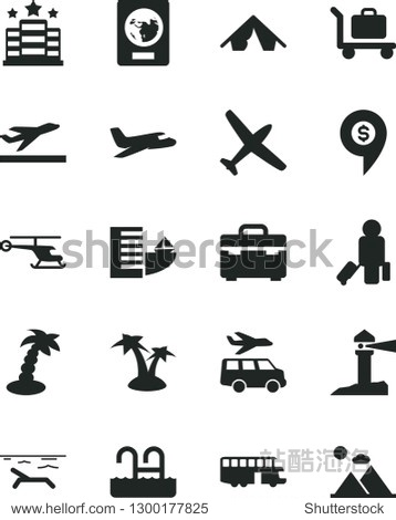 Solid Black Vector Icon Set - suitcase vector  coastal lighthouse  helicopter  dollar pin  plane  bus  passenger  passport  departure  hotel  tent  beach  palm tree  pool  baggage  transfer