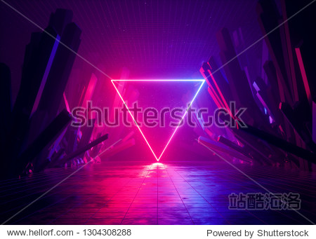 3d render  abstract background  cosmic landscape  triangular portal  pink blue neon light  virtual reality  energy source  glowing quad  dark space  ultraviolet spectrum  laser triangle  rocks  ground