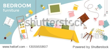 Horizontal banner with a lot of flying Bedroom furniture and text. Interior items - bed  nightstands  plants  pictures  pillows. Cozy floating elegant furniture. Flat cartoon style vector illustration