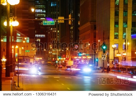 Evening scenery of Chicago downtown  Illinois  USA