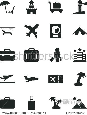 Solid Black Vector Icon Set - suitcase vector  case  coastal lighthouse  sand castle  plane  passenger  rolling  passport  ticket  departure  tent  beach  arnchair under umbrella  palm tree  baggage
