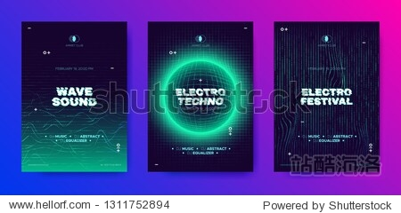 Electronic Music Poster  3d Neon Round  Distorted Wave Lines. Dj Party Flyer Design with Movement and Illusion Effect. Electronic Sound Festival Promotion. Technology Futuristic Banner  Electro Event.