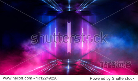 Background wall with neon lines and rays. Background dark corridor with neon light. Abstract background with lines and glow. Wet asphalt  neon smoke.