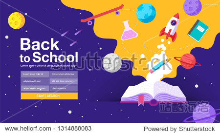 back to school   book  web banner  poster  flat design colorful  vector