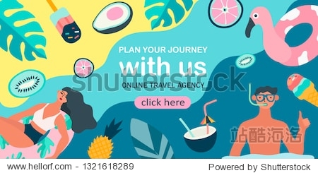 Summer theme banner. Vector illustration of resting people and objects and fruits issociated with summer holidays and vacation by the sea. Creative banner  landing page  flyer in a flat style.