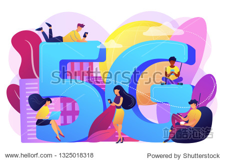 Tiny business people with mobile devices using 5g technology. 5g network  next generation connectivity  modern mobile communication concept. Bright vibrant violet vector isolated illustration