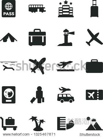Solid Black Vector Icon Set - case vector  passport  coastal lighthouse  plane  bus  passenger  suitcase  rolling  ticket  departure  hotel  tent  beach  palm tree  baggage  transfer  mountains