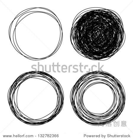 Hand drawn scribble circles  vector logo design elements