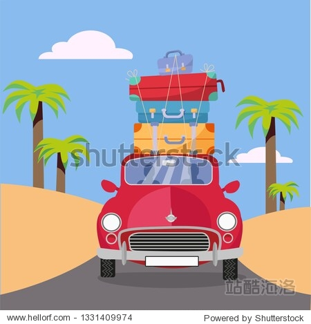 Treveling by red car with pile of luggage bags on roof near beach with palms. Summer tourism  travel  trip. Flat cartoon vector illustration. Car front View With stack Of suitcases