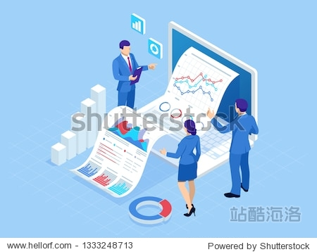 Isometric concept of business analysis  analytics  research  strategy statistic  planning  marketing  study of performance indicators. Investment in securities  smart investment  strategic management